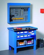 FBGM100S1 - STEEL típusú acél munkaasztal acél munkafelülettel - DIM. MM W=1031 D=705 H=855 - Szín: kék RAL5012
