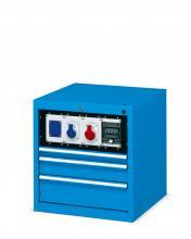 FDB105055 - FLEXA típusú fiókos lemezszekrény kiegészítőkkel - EH=27X27 3 fiókkal - DIM. MM W=564 D=600 H=600